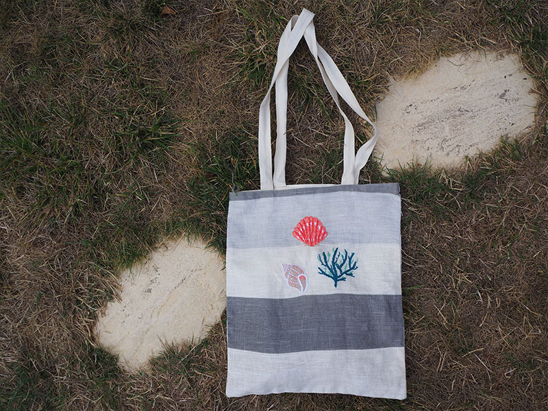 broderies coquillage et crustacés totebag